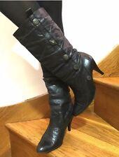 Women Real Leather Black Boots Size 5 UK 38 Kitten Heels Mid Calf Sexy Autumn
