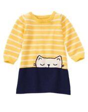 Gymboree 3T Dress Flower Showers Striped Yellow Navy Kitty Cat Sweater Dress NWT