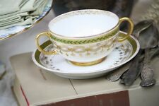 Cream Soup Bowls Cup & Saucer Bouillon Hunter Green Gold JPL France French