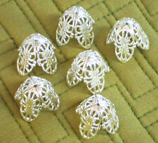 Vintage Bead Caps Filigree Leaf Petal Artsy Silver Large 20mm by 18mm Cone #1401