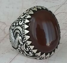 Hand Carved Red Agate Hunters Turkish 925 Sterling Silver Mens Ring Gemstone