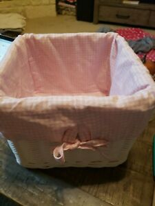 Pottery Barn White Square Basket With Pink Gingham Liner