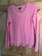 """H&M Pink Jumper Size M Chest 40"""" Part Angora Soft & Fluffy. Approx Size 14"""