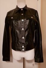 NWT TAGRAG BLACK OSTRICH Embossed Faux LEATHER Short Jacket Size Medium
