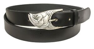 Leather Belt with Sterling Silver Tarpon Buckle