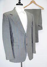 Vintage Half Norfolk Tweed Gray Wool Blue Stripe Suit 40R 36W 31L Made in USA