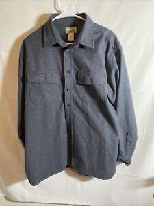 LL Bean mens button down long sleeve LARGE regular gray river driver flannel