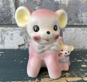 Vintage 1950's Japan Relpo Baby Planter  Teddy Bear And Baby Nursery