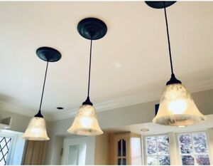 "Set of 3 Pottery Barn 8"" Diam Mercury Glass Bell Pendant Lights Easy to Install"