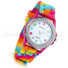 Fashion Rainbow Rhinestone Jelly Silicone Womens Ladies Girls Quartz Wrist Watch