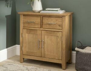Nebraska Oak Sideboard / Solid Wood Small 2 Door 2 Drawer Storage Cupboard / New