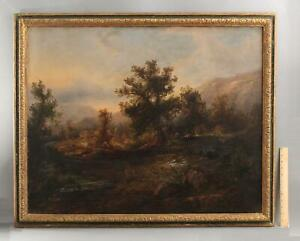 Large 19thC Antique American Country Home Farm Landscape Oil Painting, NR