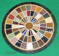 """24""""Black Marble Mosaic Round inlaid Fine Dining Coffee Table Top Marquetry Decor"""