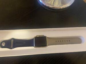 Apple Watch Series 1 38mm Rose Gold Aluminium Case, Grey & Dark Blue Sports Band