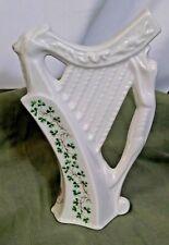 "Cre Porcelain Shamrock Harp by Joel McCaul Celtic Collection Galway Ireland 7"""