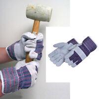 1 Pair Work Gloves Split Leather Reinforced Palm Large Men Utility Garden Home L
