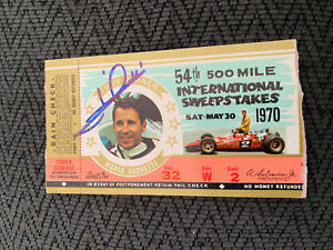 Mario Andretti (1969 Winner) Signed Indianapolis Indy 500 Ticket 1970 Race Auto