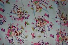 Tinkerbell Blue Cotton Fitted Cot Sheet Handmade