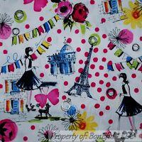 BonEful FABRIC FQ Cotton Quilt B&W Pink Dot Flower Eiffel Tower Paris Poodle Dog