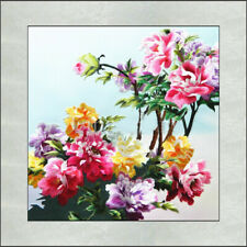 Exquisite Chinese SuZhou  Handmade Embroidery Art Painting The Beautiful Peony