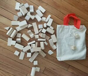 IKEA Natural Wood Building Blocks Classic Toy w/ Original Canvas Bag 60 Blocks