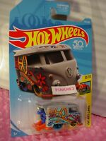 KOOL KOMBI #353 US❀gray/orange VW bus; PEACE❀ART CARS❀2018 Hot Wheels case Q