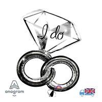 "Giant 30"" x 27"" I do Wedding Rings Anagram Helium Balloon Hen Night / Engagement"