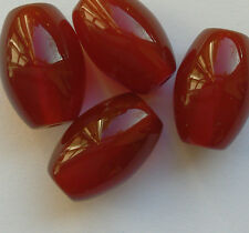 4 Fine Natural Colour Oval Carnelian Gemstone Beads 10 mm Jewellery Making