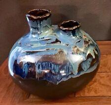 Blue Flambe Mid Century Spout Tube Signed Art Pottery Vase Glass Glaze Wedding