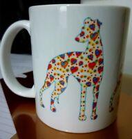 Whippet Mug, Whippet Dog with Cute Doodled Hearts design.  Xmas Gift Whippet Mug