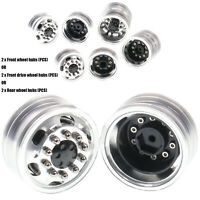1:14 RC Metal Front Rear Wheel Rim Hub 10Spoke for Tamiya LESU Tractor Truck Car
