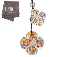 New Hanging Suncatcher Yellow Crystal Lucky Flower Pendants Car Mirror Decor
