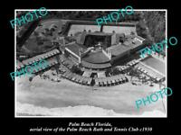 OLD LARGE HISTORIC PHOTO OF PALM BEACH FLORIA, THE BATH & TENNIS CLUB c1930