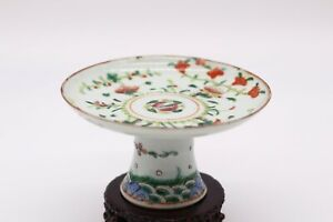 Chinese Antique Famille Rose Porcelain Stem Plate With Flowers