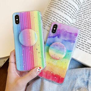 Glitter Rainbow Case Cover For iPhone 11 12 Pro 6s 7 8 XR SE2 XS X Socket Holder