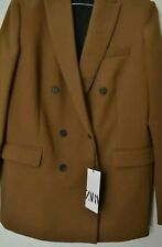Zara Suit Matching Set Coord Trousers Double Breasted Blazer Toffee Brown M 10