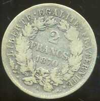 2 FRANCS  CERES  1870 A    ( petit  A  )       ARGENT