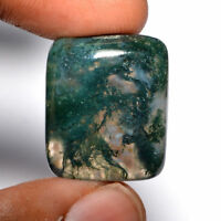 Cts. 28.95 Natural Designer Landscape Moss Agate Cabochon Cushion Cab Loose Gems