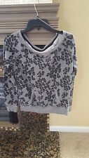 JUNIORS LADIES AEROPOSTALE AERO 87 TEENS GRAY SWEATER MEDIUM LEOPARD YOGA N