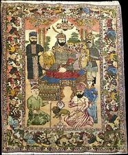 """An Antique  Collectible Pictorial  """"Timur Korkani"""" Tabreez Rug Circa 1900"""