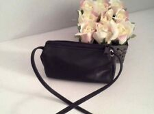 Vintage Small Black Crossbody Bag Purse by Designer Linda Dano Mini Handbag