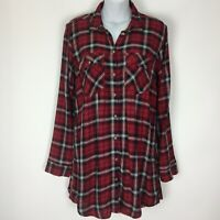 H&M Divided 4 Small Red Plaid Tunic Top Shirt Blouse Womens Long Sleeve Button