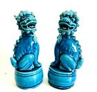 Antique Pair Turquoise Fine Porcelain Foo Dog Lion Statues  Impressed Mark CHINA
