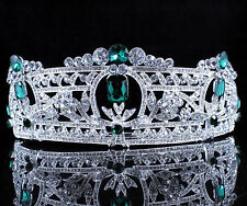 Green Austrian Rhinestone Crystal Tiara Hair Combs Crown Bridal Silver Prom T813