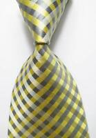 New Classic Checks Light Yellow Gray JACQUARD WOVEN 100% Silk Men's Tie Necktie