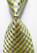 New Classic Checks Light Yellow Gray JACQUARD WOVEN 100% Silk Men's Tie Necktie