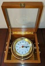ANTIQUE QUARTZ SHIPS TIME MARINE CHRONOMETER SHIP CLOCK NAVIGATION WOOD BRASS