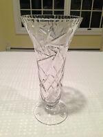"""Antique 10"""" American Brilliant PINWHEEL CUT GLASS TRUMPET VASE"""