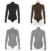 beige turtleneck ribbed long sleeve brown top winter warm cotton bodysuit