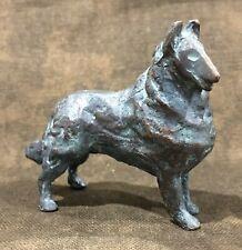 Vintage Solid Bronze Rough Collie Dog Figurine